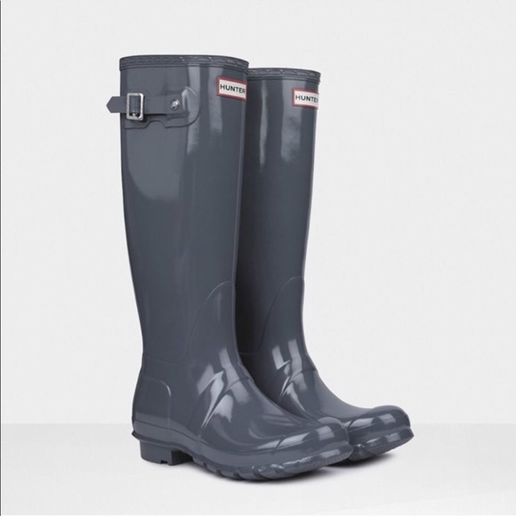 c09fa67890fc6 Hunter Shoes | Tall High Gloss Boots In Gray | Poshmark